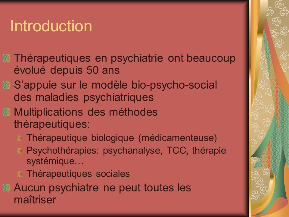 Introduction Thérapeutiques en psychiatrie ont beaucoup évolué depuis 50 ans Sappuie sur le modèle bio-psycho-social des maladies psychiatriques Multi