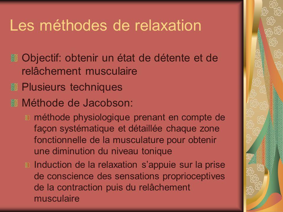 Les méthodes de relaxation Objectif: obtenir un état de détente et de relâchement musculaire Plusieurs techniques Méthode de Jacobson: méthode physiol