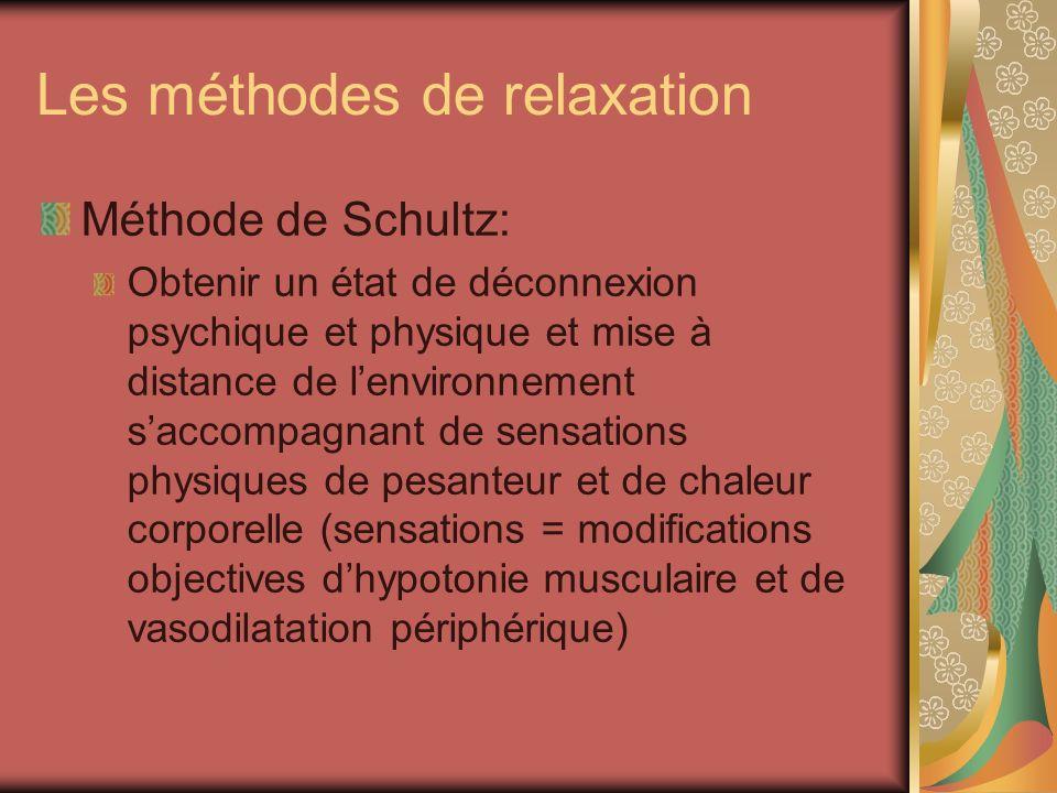 Les méthodes de relaxation Méthode de Schultz: Obtenir un état de déconnexion psychique et physique et mise à distance de lenvironnement saccompagnant
