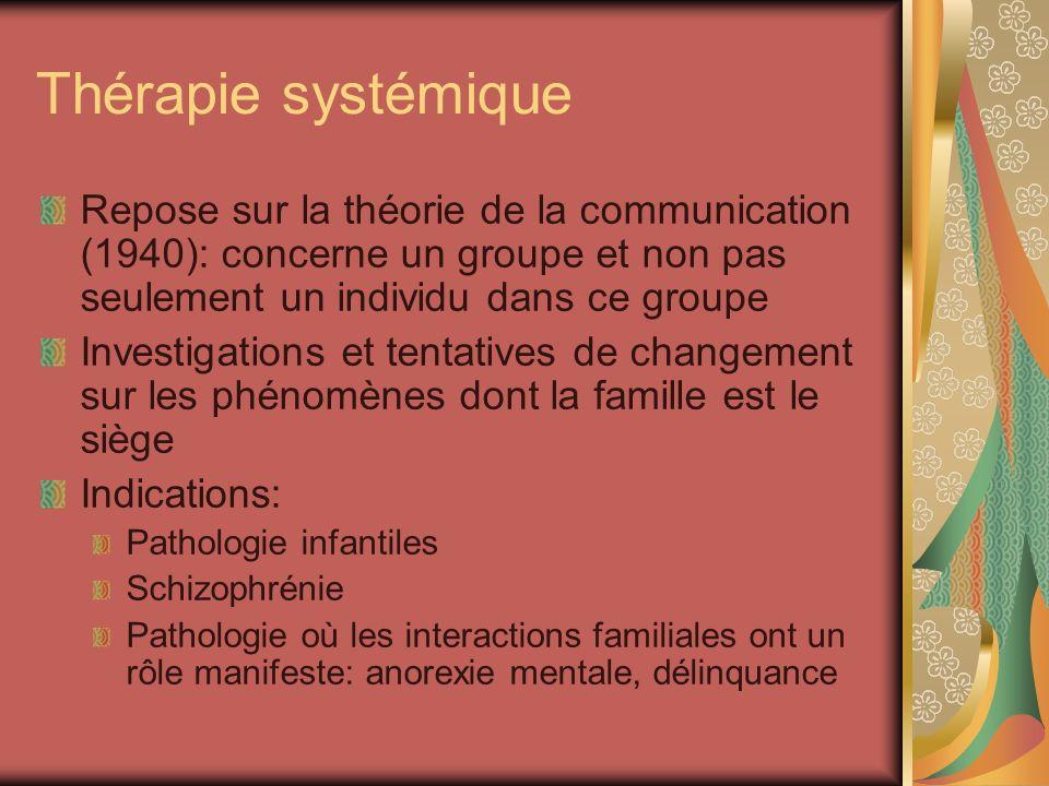 Thérapie systémique Repose sur la théorie de la communication (1940): concerne un groupe et non pas seulement un individu dans ce groupe Investigation