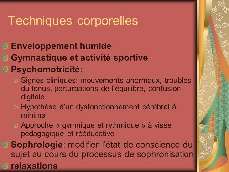 Techniques corporelles Enveloppement humide Gymnastique et activité sportive Psychomotricité: Signes cliniques: mouvements anormaux, troubles du tonus