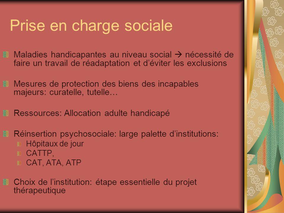 Prise en charge sociale Maladies handicapantes au niveau social nécessité de faire un travail de réadaptation et déviter les exclusions Mesures de pro