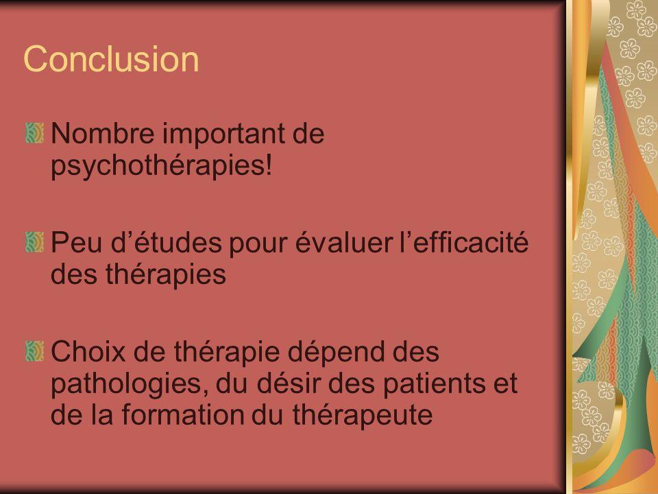 Conclusion Nombre important de psychothérapies! Peu détudes pour évaluer lefficacité des thérapies Choix de thérapie dépend des pathologies, du désir
