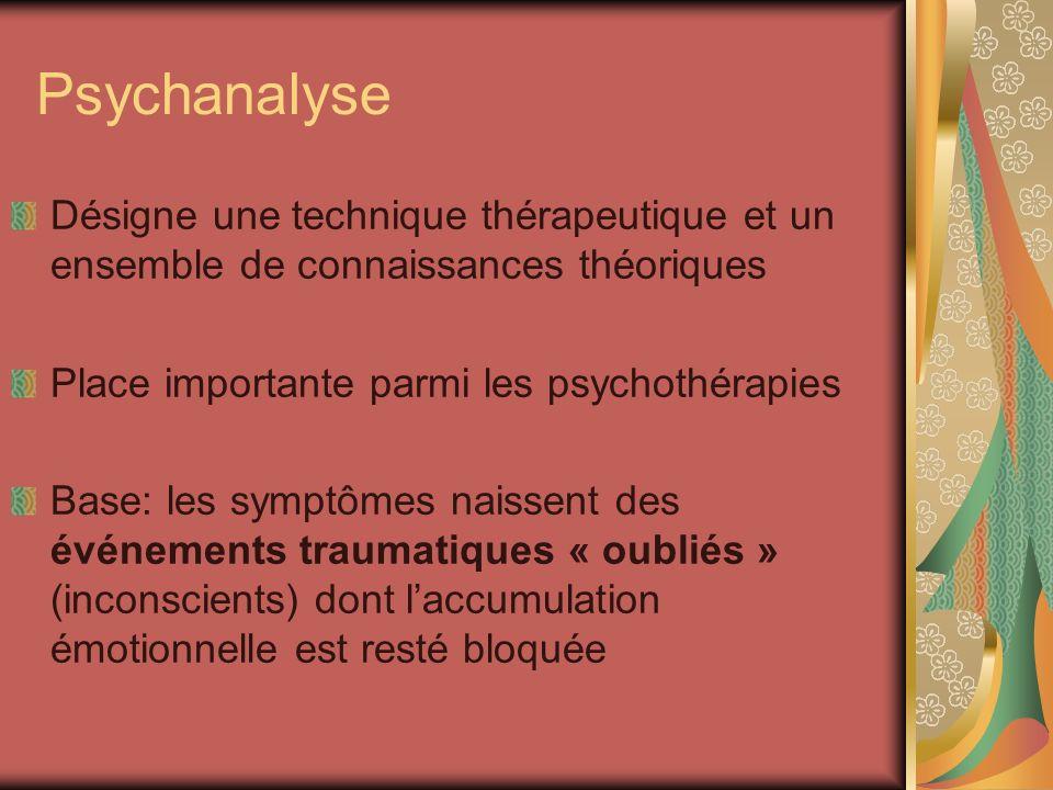 Psychanalyse Désigne une technique thérapeutique et un ensemble de connaissances théoriques Place importante parmi les psychothérapies Base: les sympt
