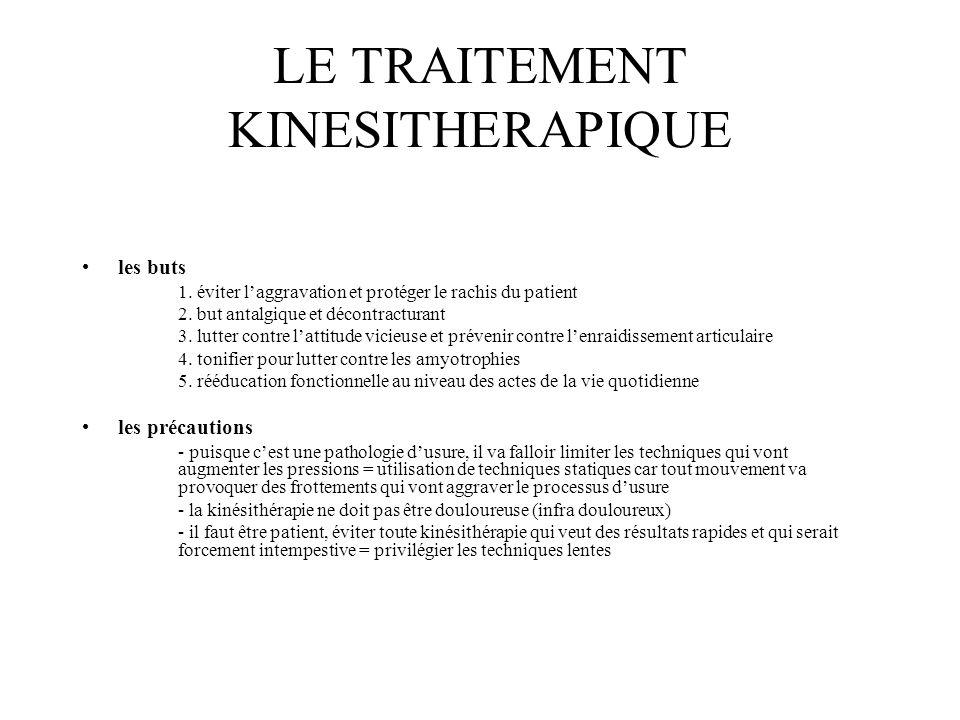 LE TRAITEMENT KINESITHERAPIQUE les buts 1. éviter laggravation et protéger le rachis du patient 2. but antalgique et décontracturant 3. lutter contre