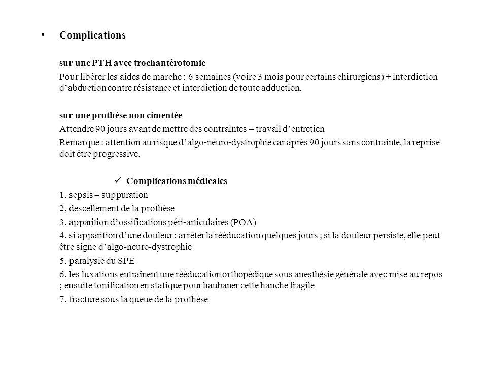 Complications sur une PTH avec trochantérotomie Pour libérer les aides de marche : 6 semaines (voire 3 mois pour certains chirurgiens) + interdiction