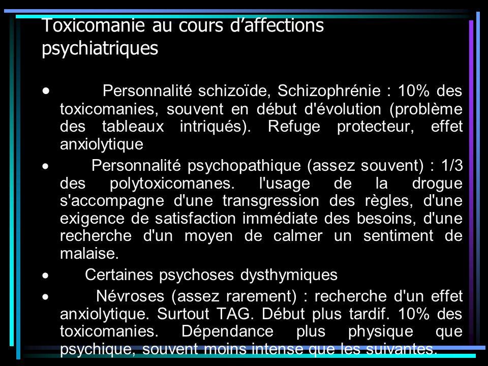 Toxicomanie au cours daffections psychiatriques Personnalité schizoïde, Schizophrénie : 10% des toxicomanies, souvent en début d'évolution (problème d