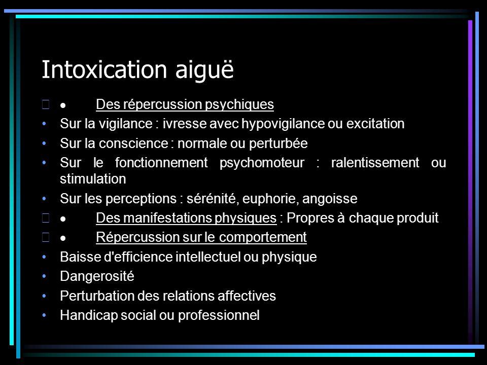 Intoxication aiguë Des répercussion psychiques Sur la vigilance : ivresse avec hypovigilance ou excitation Sur la conscience : normale ou perturbée Su