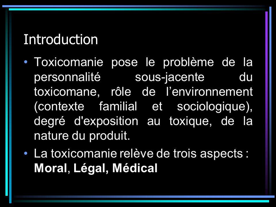 Introduction Toxicomanie pose le problème de la personnalité sous-jacente du toxicomane, rôle de lenvironnement (contexte familial et sociologique), d