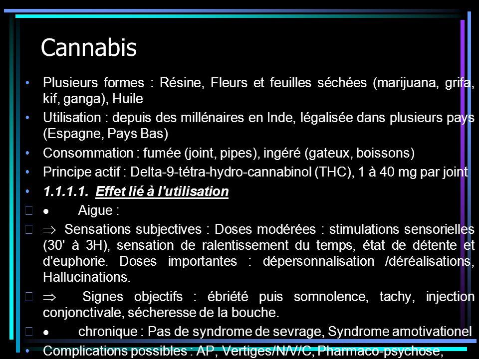 Cannabis Plusieurs formes : Résine, Fleurs et feuilles séchées (marijuana, grifa, kif, ganga), Huile Utilisation : depuis des millénaires en Inde, lég