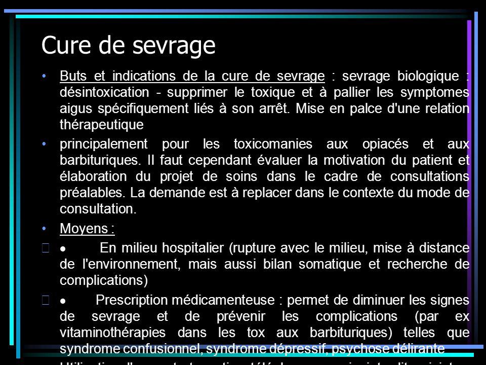 Cure de sevrage Buts et indications de la cure de sevrage : sevrage biologique : désintoxication - supprimer le toxique et à pallier les symptomes aig