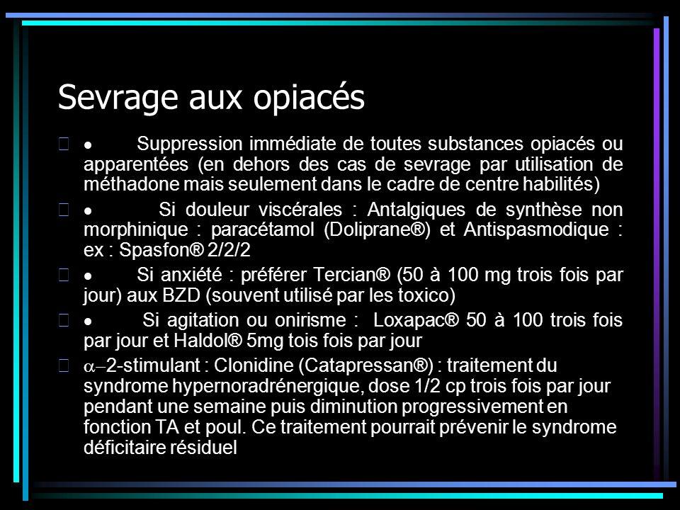 Sevrage aux opiacés Suppression immédiate de toutes substances opiacés ou apparentées (en dehors des cas de sevrage par utilisation de méthadone mais