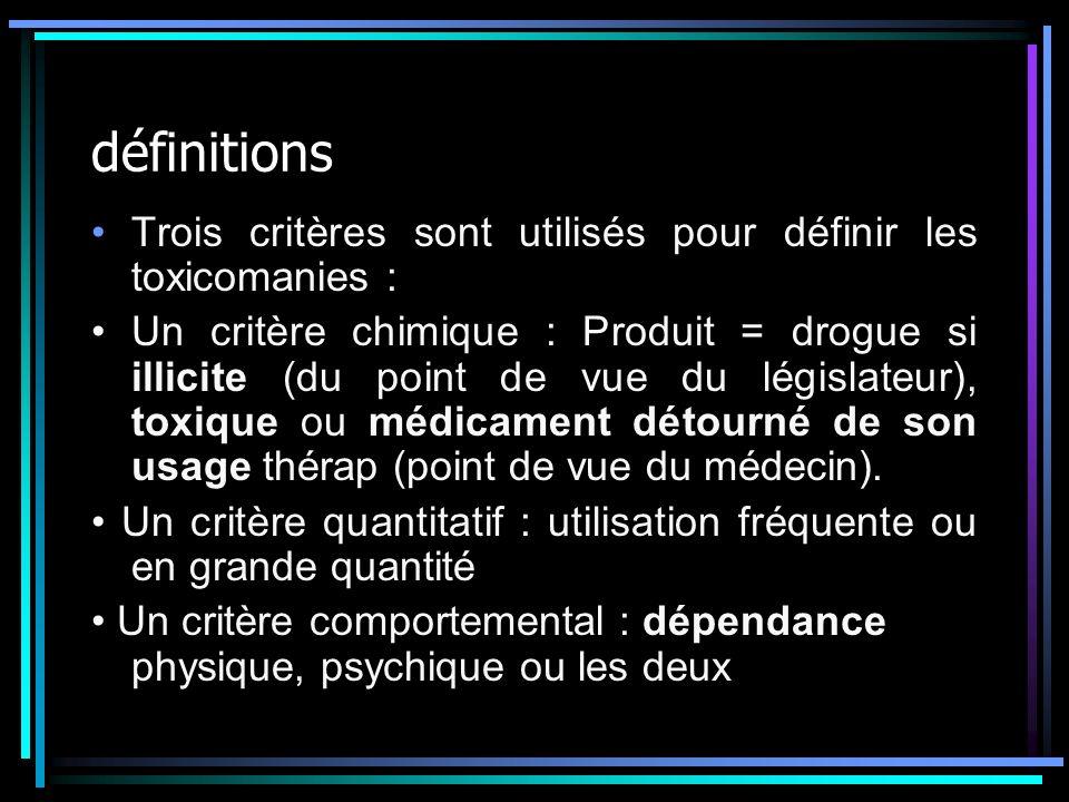 définitions Trois critères sont utilisés pour définir les toxicomanies : Un critère chimique : Produit = drogue si illicite (du point de vue du législ
