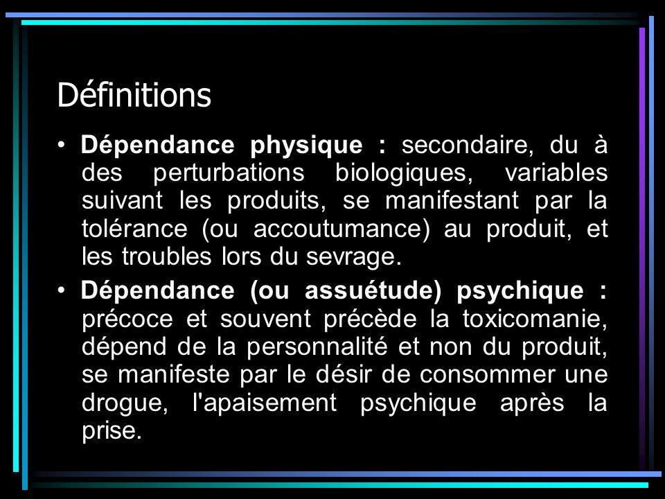 Définitions Dépendance physique : secondaire, du à des perturbations biologiques, variables suivant les produits, se manifestant par la tolérance (ou