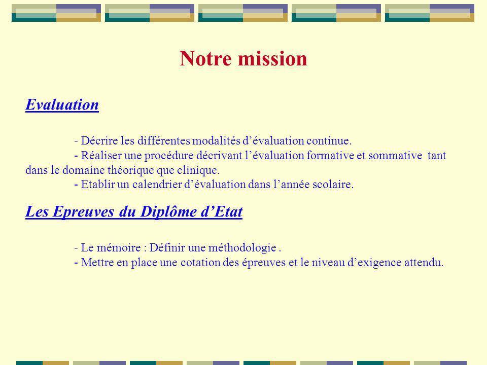 Evaluation - Décrire les différentes modalités dévaluation continue. - Réaliser une procédure décrivant lévaluation formative et sommative tant dans l
