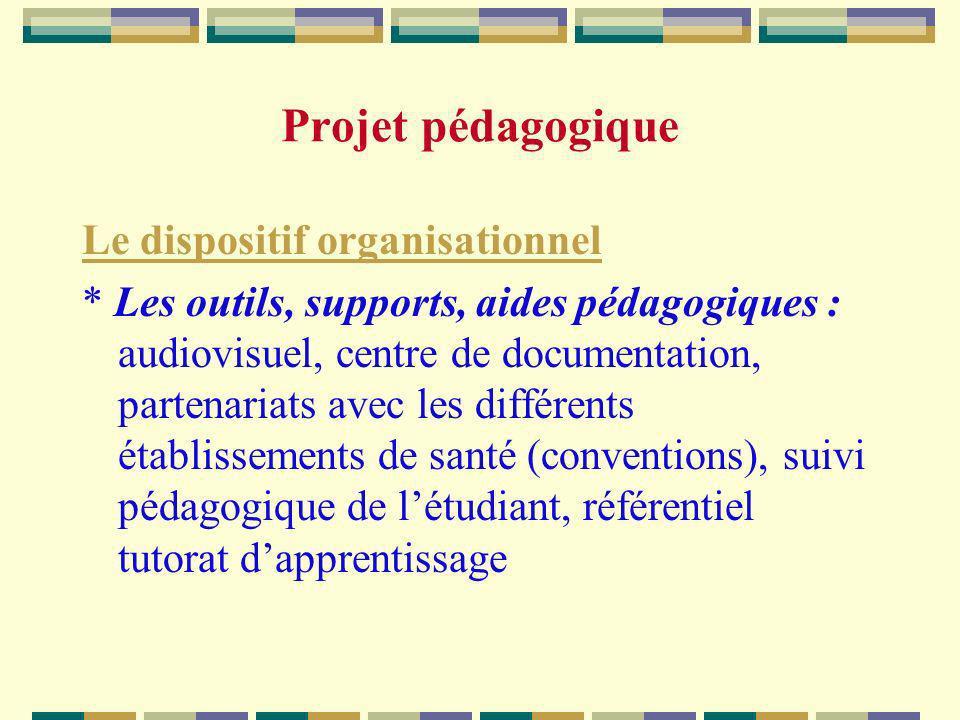 Le dispositif organisationnel * Les outils, supports, aides pédagogiques : audiovisuel, centre de documentation, partenariats avec les différents étab
