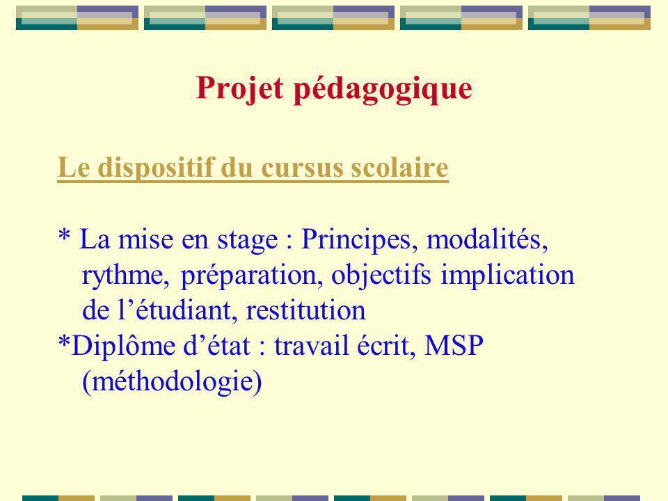 Projet pédagogique Le dispositif du cursus scolaire * La mise en stage : Principes, modalités, rythme, préparation, objectifs implication de létudiant