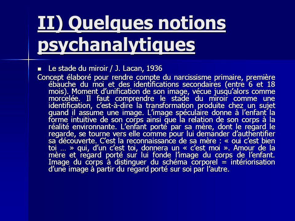 II) Quelques notions psychanalytiques Le stade du miroir / J. Lacan, 1936 Le stade du miroir / J. Lacan, 1936 Concept élaboré pour rendre compte du na