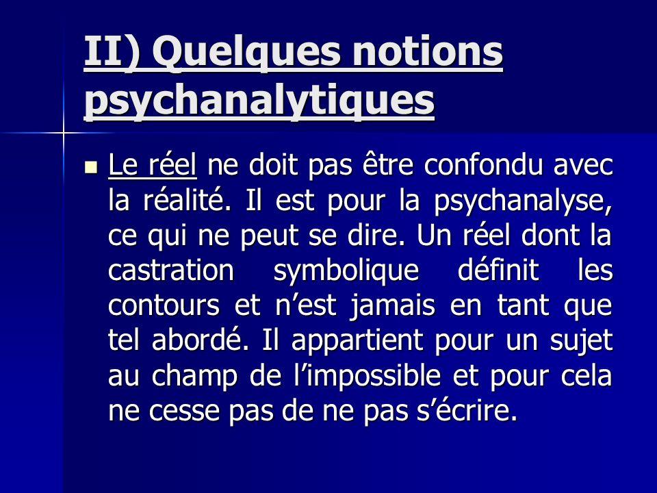 II) Quelques notions psychanalytiques Le réel ne doit pas être confondu avec la réalité. Il est pour la psychanalyse, ce qui ne peut se dire. Un réel