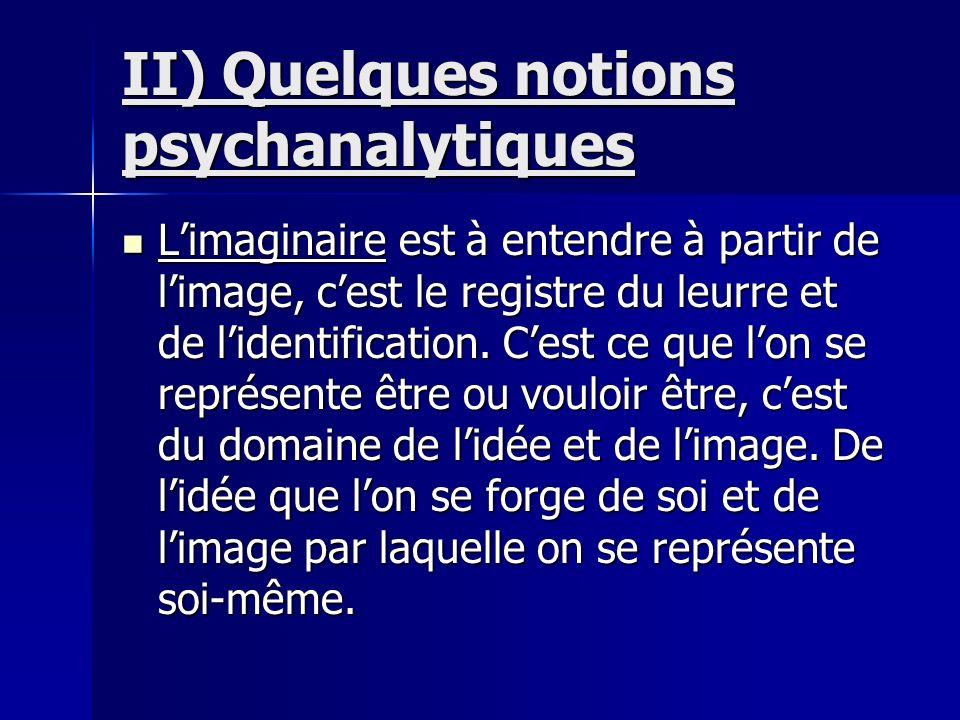 II) Quelques notions psychanalytiques Limaginaire est à entendre à partir de limage, cest le registre du leurre et de lidentification. Cest ce que lon