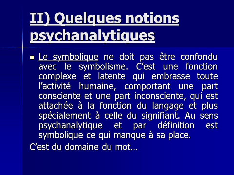 II) Quelques notions psychanalytiques Le symbolique ne doit pas être confondu avec le symbolisme. Cest une fonction complexe et latente qui embrasse t