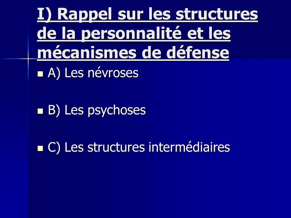 I) Rappel sur les structures de la personnalité et les mécanismes de défense A) Les névroses A) Les névroses B) Les psychoses B) Les psychoses C) Les