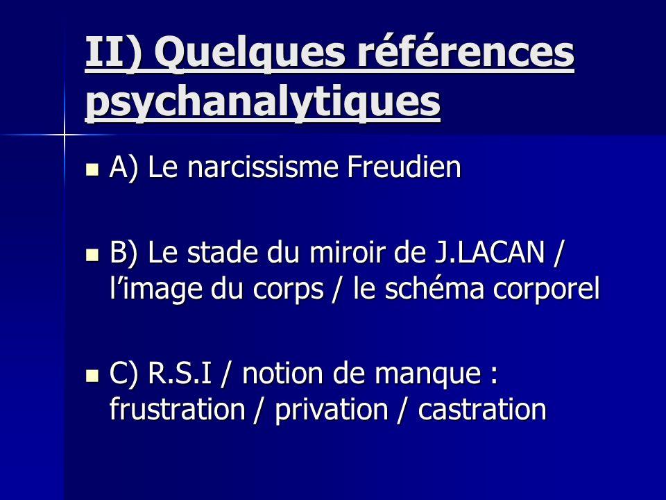 II) Quelques références psychanalytiques A) Le narcissisme Freudien A) Le narcissisme Freudien B) Le stade du miroir de J.LACAN / limage du corps / le