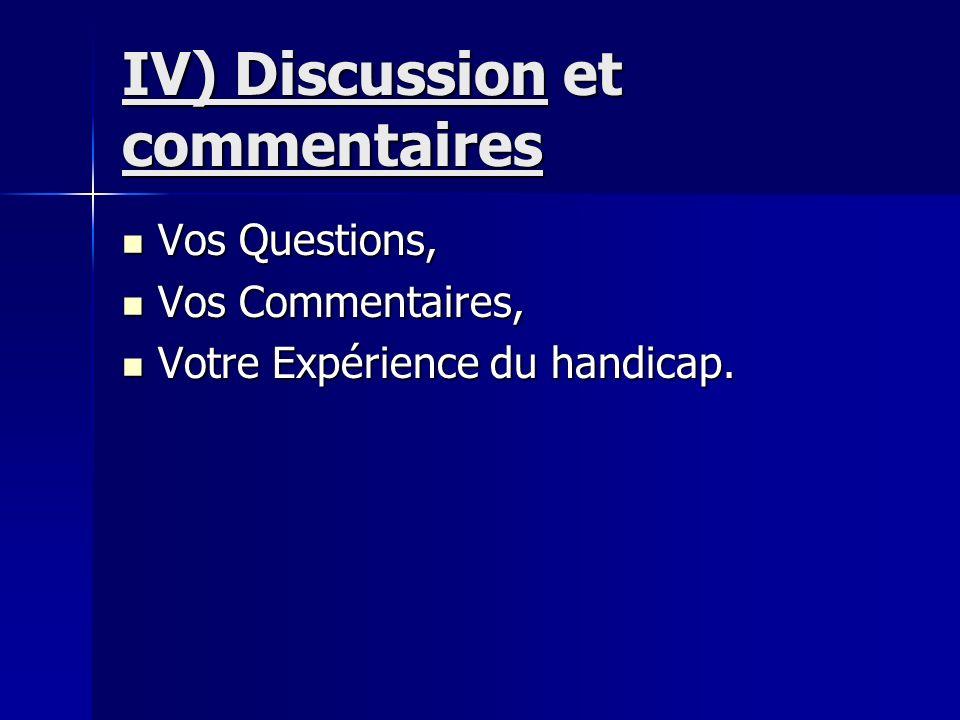 IV) Discussion et commentaires Vos Questions, Vos Questions, Vos Commentaires, Vos Commentaires, Votre Expérience du handicap. Votre Expérience du han