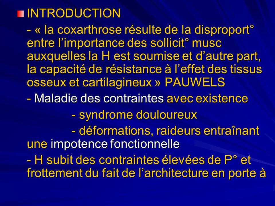 INTRODUCTION - « la coxarthrose résulte de la disproport° entre limportance des sollicit° musc auxquelles la H est soumise et dautre part, la capacité