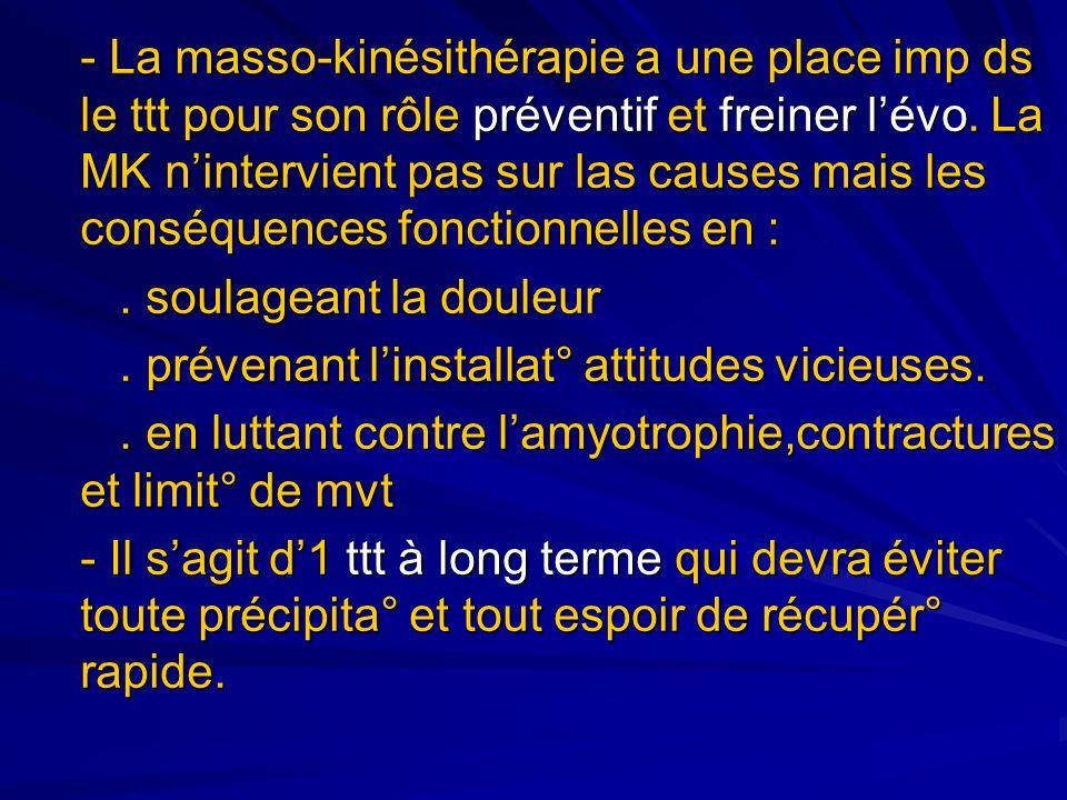 - La masso-kinésithérapie a une place imp ds le ttt pour son rôle préventif et freiner lévo. La MK nintervient pas sur las causes mais les conséquence
