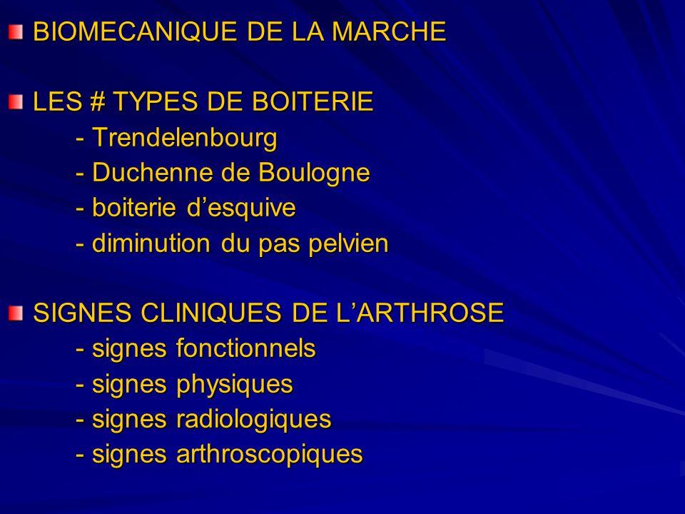 BIOMECANIQUE DE LA MARCHE LES # TYPES DE BOITERIE - Trendelenbourg - Duchenne de Boulogne - boiterie desquive - diminution du pas pelvien SIGNES CLINI