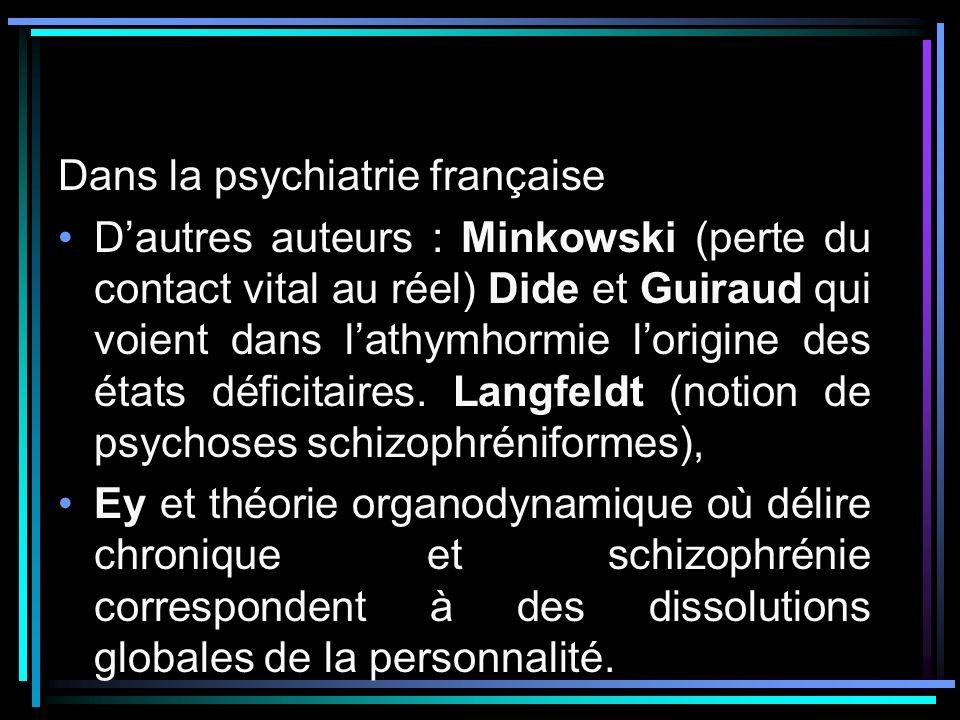 Dans la psychiatrie française Dautres auteurs : Minkowski (perte du contact vital au réel) Dide et Guiraud qui voient dans lathymhormie lorigine des é