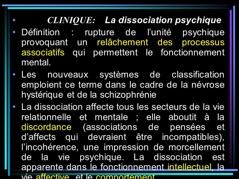 CLINIQUE: La dissociation psychique Définition : rupture de lunité psychique provoquant un relâchement des processus associatifs qui permettent le fonctionnement mental.