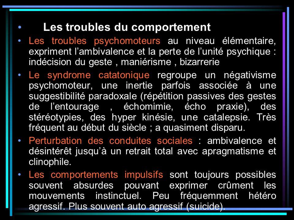 Les troubles du comportement Les troubles psychomoteurs au niveau élémentaire, expriment lambivalence et la perte de lunité psychique : indécision du geste, maniérisme, bizarrerie Le syndrome catatonique regroupe un négativisme psychomoteur, une inertie parfois associée à une suggestibilité paradoxale (répétition passives des gestes de lentourage, échomimie, écho praxie), des stéréotypies, des hyper kinésie, une catalepsie.