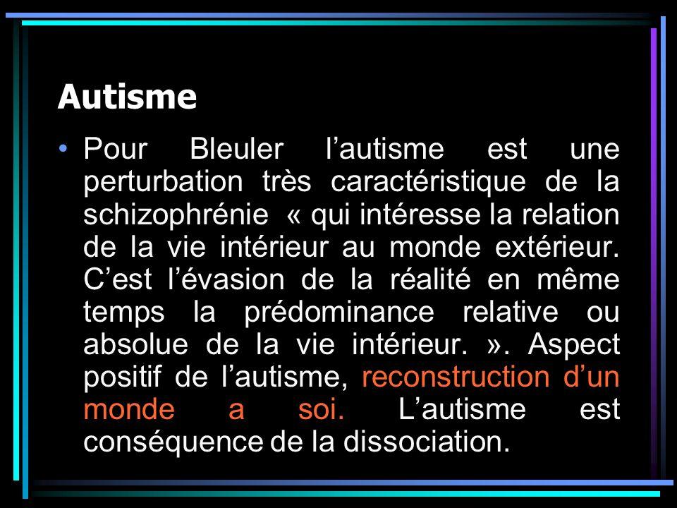 Autisme Pour Bleuler lautisme est une perturbation très caractéristique de la schizophrénie « qui intéresse la relation de la vie intérieur au monde extérieur.
