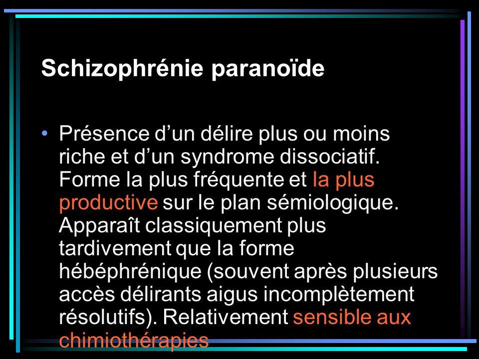 Schizophrénie paranoïde Présence dun délire plus ou moins riche et dun syndrome dissociatif. Forme la plus fréquente et la plus productive sur le plan
