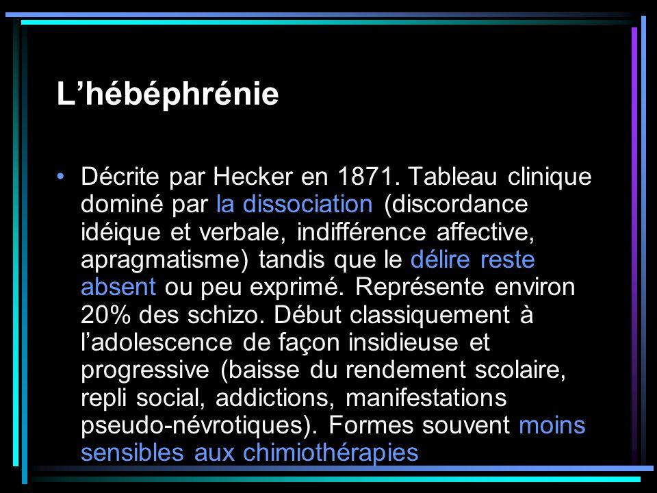 Lhébéphrénie Décrite par Hecker en 1871. Tableau clinique dominé par la dissociation (discordance idéique et verbale, indifférence affective, apragmat