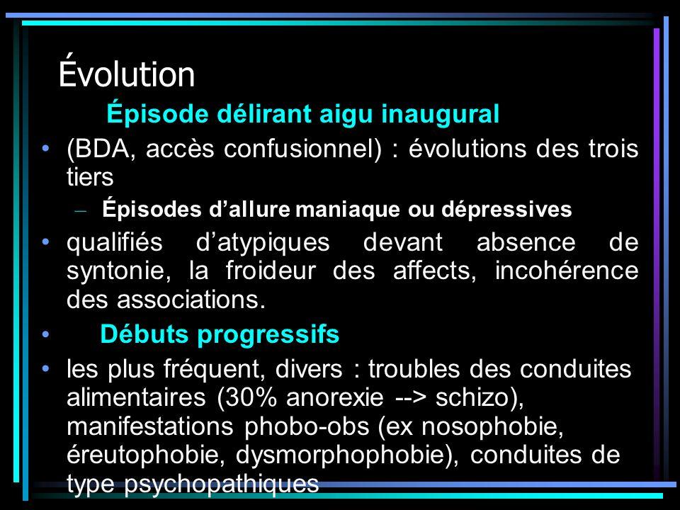 Évolution Épisode délirant aigu inaugural (BDA, accès confusionnel) : évolutions des trois tiers – Épisodes dallure maniaque ou dépressives qualifiés
