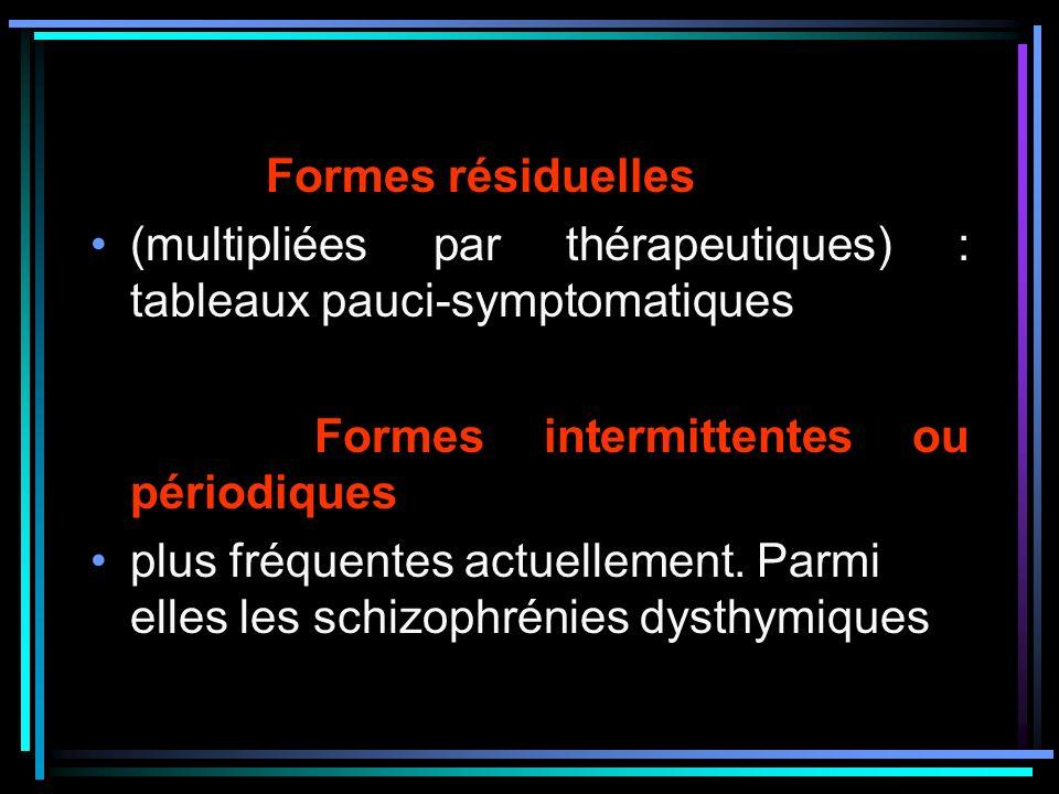 Formes résiduelles (multipliées par thérapeutiques) : tableaux pauci-symptomatiques Formes intermittentes ou périodiques plus fréquentes actuellement.