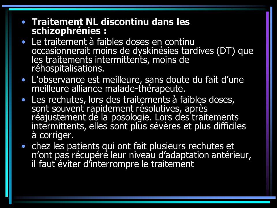 Traitement NL discontinu dans les schizophrénies : Le traitement à faibles doses en continu occasionnerait moins de dyskinésies tardives (DT) que les traitements intermittents, moins de réhospitalisations.