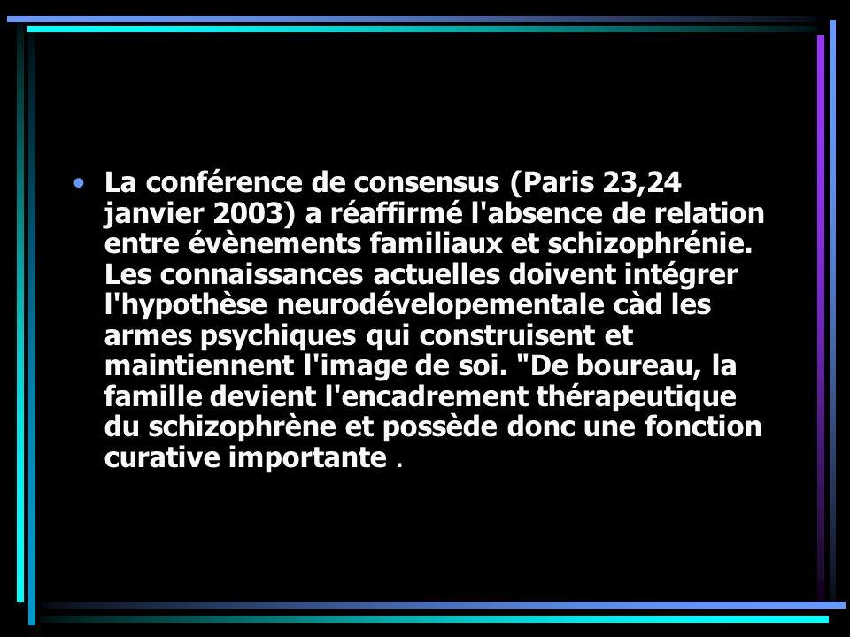 La conférence de consensus (Paris 23,24 janvier 2003) a réaffirmé l'absence de relation entre évènements familiaux et schizophrénie. Les connaissances