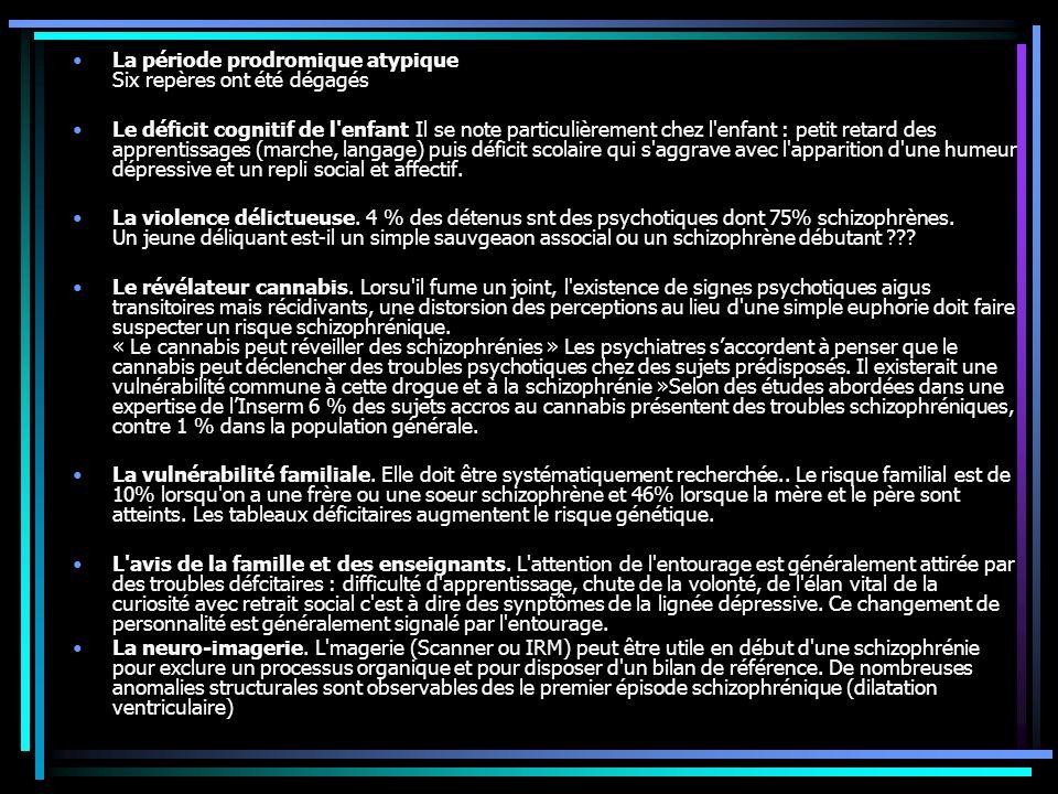 La période prodromique atypique Six repères ont été dégagés Le déficit cognitif de l enfant Il se note particulièrement chez l enfant : petit retard des apprentissages (marche, langage) puis déficit scolaire qui s aggrave avec l apparition d une humeur dépressive et un repli social et affectif.