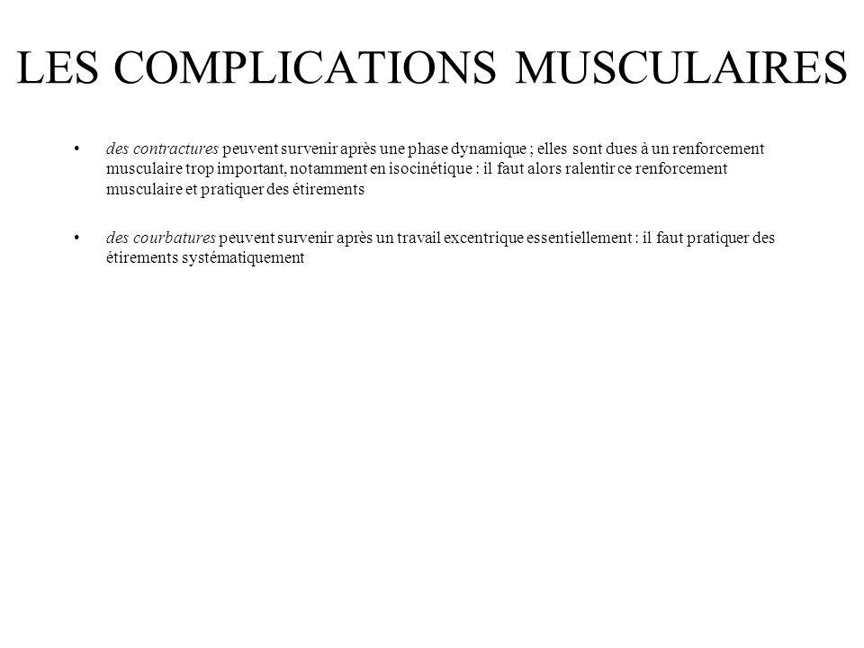 LES COMPLICATIONS MUSCULAIRES des contractures peuvent survenir après une phase dynamique ; elles sont dues à un renforcement musculaire trop importan