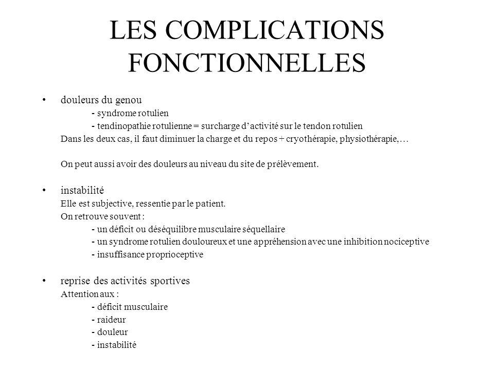 LES COMPLICATIONS FONCTIONNELLES douleurs du genou - syndrome rotulien - tendinopathie rotulienne = surcharge dactivité sur le tendon rotulien Dans le