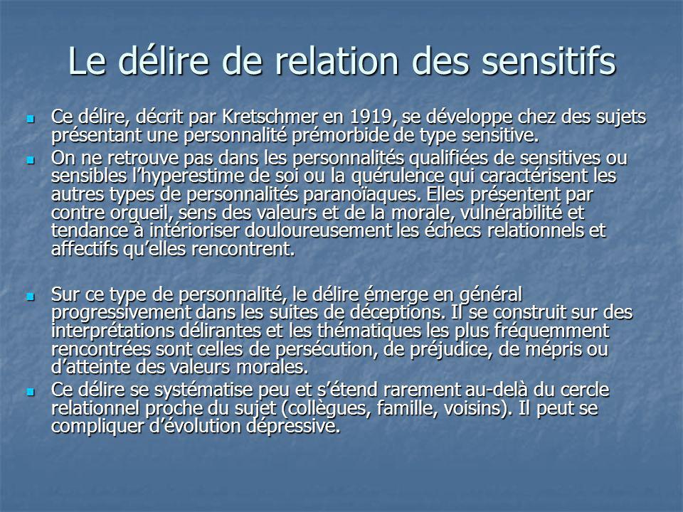 Le délire de relation des sensitifs Ce délire, décrit par Kretschmer en 1919, se développe chez des sujets présentant une personnalité prémorbide de t