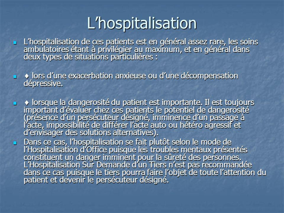 Lhospitalisation Lhospitalisation de ces patients est en général assez rare, les soins ambulatoires étant à privilégier au maximum, et en général dans