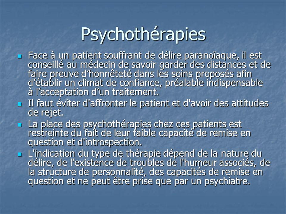 Psychothérapies Face à un patient souffrant de délire paranoïaque, il est conseillé au médecin de savoir garder des distances et de faire preuve dhonn