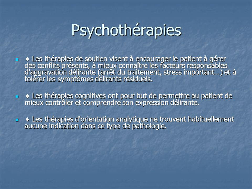 Psychothérapies Les thérapies de soutien visent à encourager le patient à gérer des conflits présents, à mieux connaître les facteurs responsables d'a