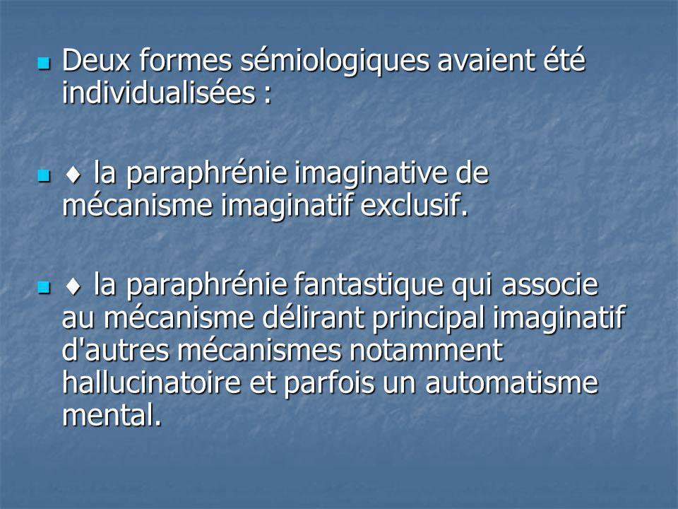 Deux formes sémiologiques avaient été individualisées : Deux formes sémiologiques avaient été individualisées : la paraphrénie imaginative de mécanism