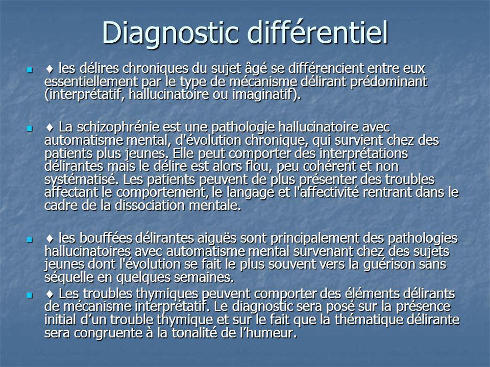 Diagnostic différentiel les délires chroniques du sujet âgé se différencient entre eux essentiellement par le type de mécanisme délirant prédominant (